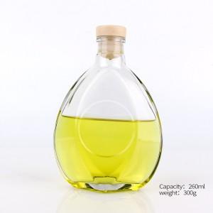 250ml 500ml fllat shape wine/liquor/red wine glass bottle with polymer stopper
