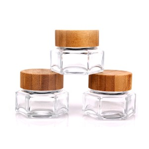High PerformanceFactory Sale Crystal Glass Vase - customized high quality hexagonal 30ml glass cosmetic storage jar with wooden lid – Yanjia