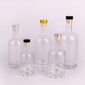 Wholesale 500ml 750ml1000ml luxury vodka glass bottle with cork stopper