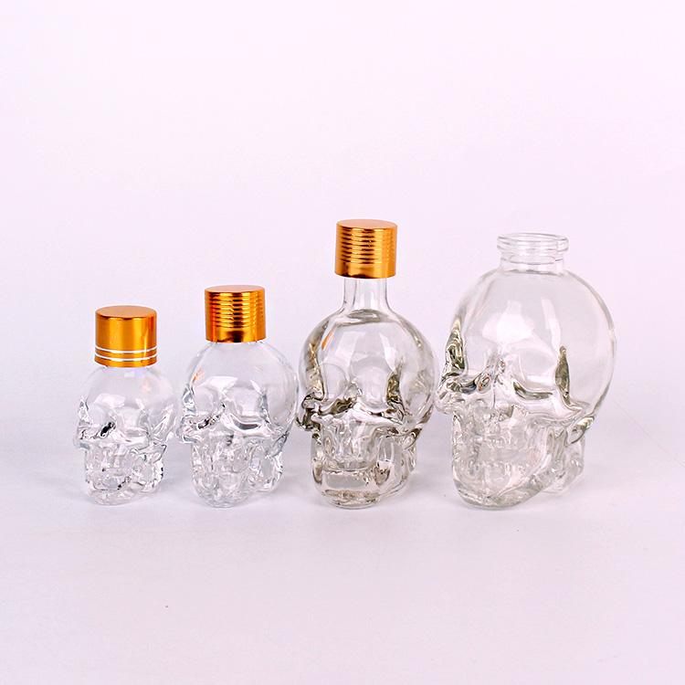 15ml 30ml 50ml 100ml skull shape essential oil aroma glass cosmetic bottle