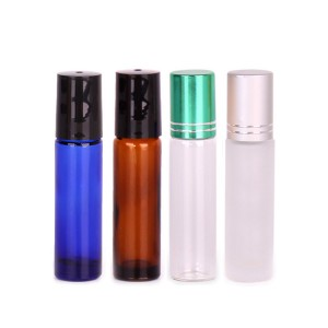 Top Suppliers Colorful Glass Vases - empty colorful glass essential oil bottles with roll – Yanjia