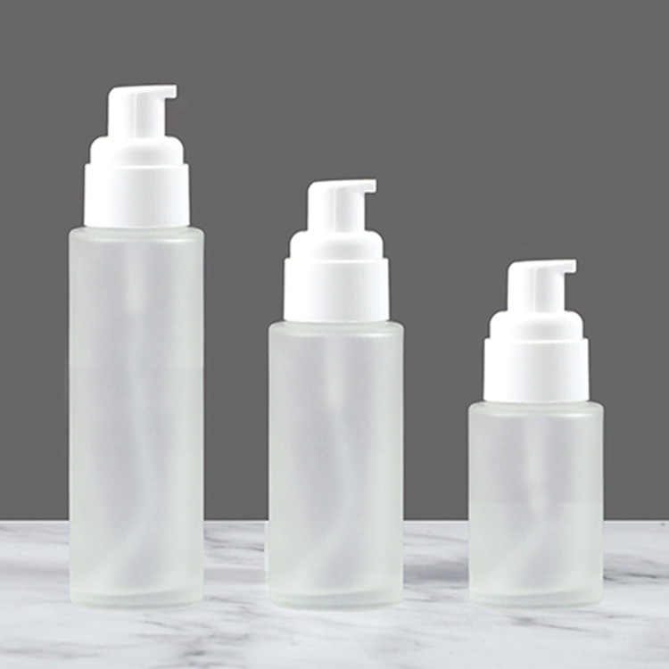 30ml frosted pump cosmetic glass bottle for Makeup Foundations and Serums