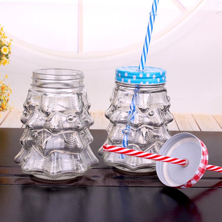 900ml Christmas Tree Shape Glass Mason Jar drinking Mug with Metal Lid with Hole and Straw