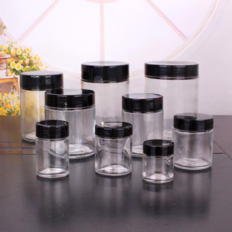 Wholesale 1oz 3oz 6 oz 12 oz wide mouth round glass jar with lids