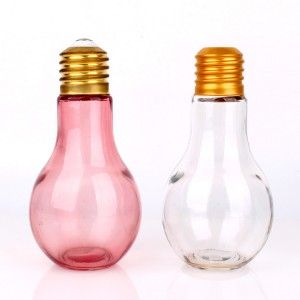 100ml 150ml 400ml light bulb shaped glass milk juice bottle with screw cap