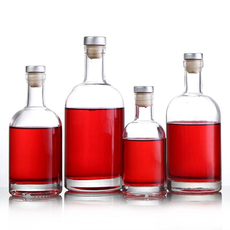 wholesale 750ml clear round Glass vodka Wine Bottle with cork