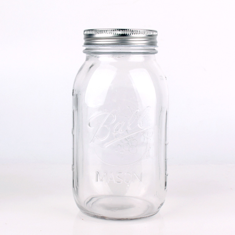 Engraved Empty Glass Mason Jar with Aluminum Cap