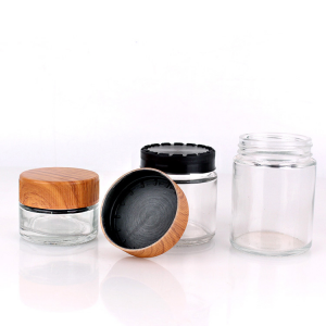 Hot Sale 40ml 80ml 90ml 110ml round clear child proof glass jar with bamboo lids