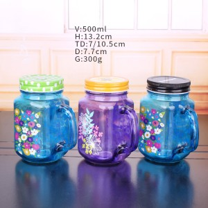 Factory making Boston Round Glass Bottle - wholesale different color 16oz 500ml glass mason jar with lid and straw handle for drinking water juice cold beverage for sale – Yanjia