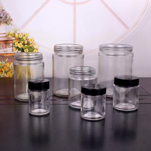 1oz 3oz 6 oz 12 oz 16oz wide mouth round glass jar food storage jar with lids