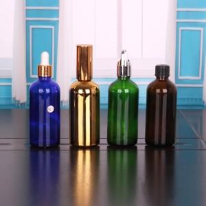 5ml 10ml 15ml 20ml 30ml Hot beira ezinbestekoa olio botila beira dropper botila zigilatzea aluminiozko txano batekin