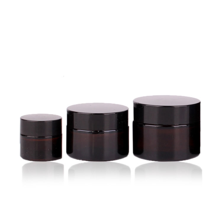 Low MOQ for Glass Perfume Bottles - Wholesale Amber Glass Straight Sided cosmetic containers Jars with black lid – Yanjia