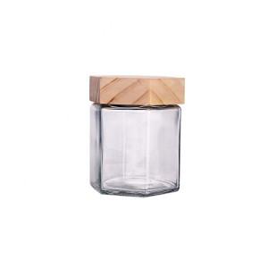 8 Year Exporter Candle Glassware - custom made 380ml hexagon glass honey food jars with wood lid – Yanjia