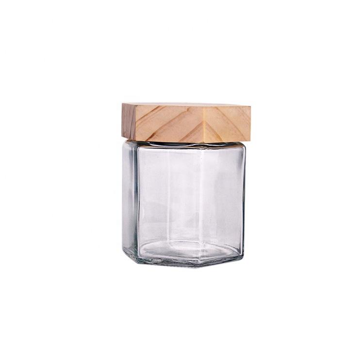 custom made 380ml hexagon glass honey food jars with wood lid