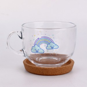 Cheapest Factory Spice/Grinder Bottle - Decaled printing cartoon glass coffee cup glass tea mug glassware 450ml – Yanjia