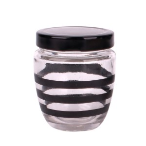Cheapest PriceBlack Candle Jar With Wooden Lid - 200ml 380ml round glass honey jar with plastic /metal lid  – Yanjia