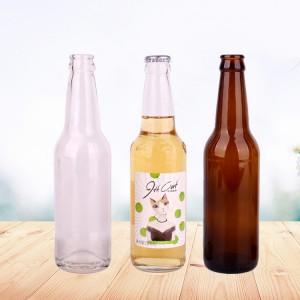 Wholesale 330ml beer bottle juice beverage glass bottle with metal crown cap