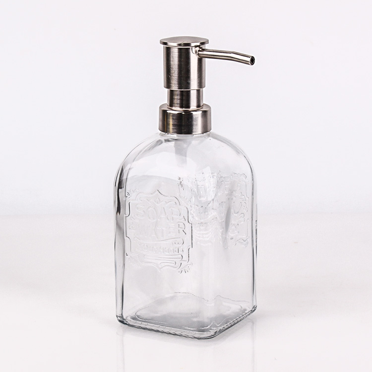 OEM China Glass Water Bottle With Filter - 500ml square Hand Wash Sanitizer glass bottle Dispenser with Stainless steel pump – Yanjia