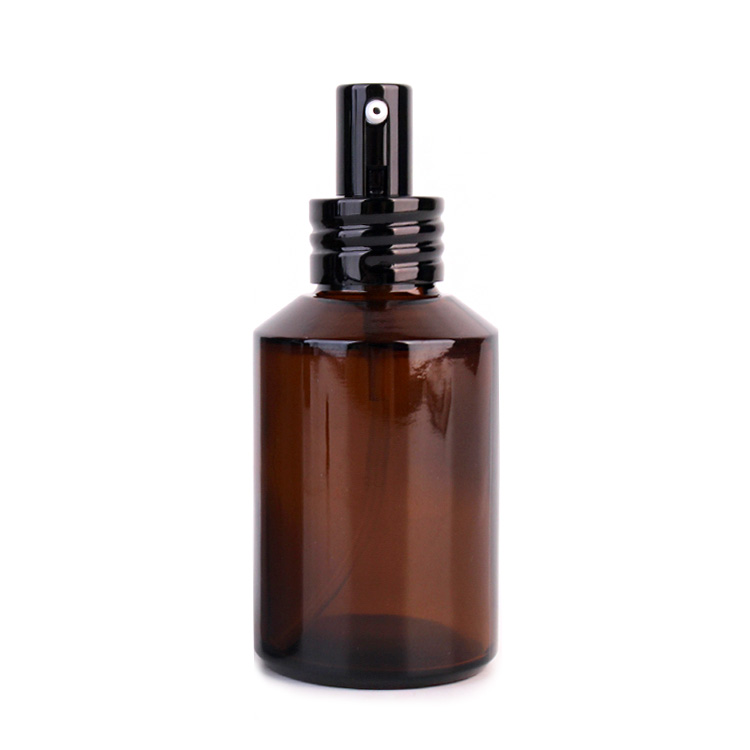 100ml cosmetic packaging amber lotion glass bottle and cream glass jar