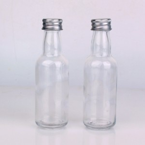 50ml round wine glass bottle with silver aluminum lid