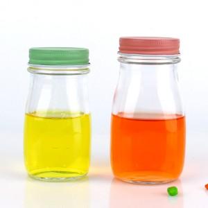 Big Discount Glass Wine Bottles - 8oz 240ml Round glass juice milk bottle with metal cap – Yanjia