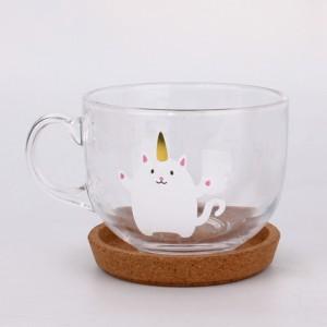 chubby round clear glass tea juice mug with wood saucer