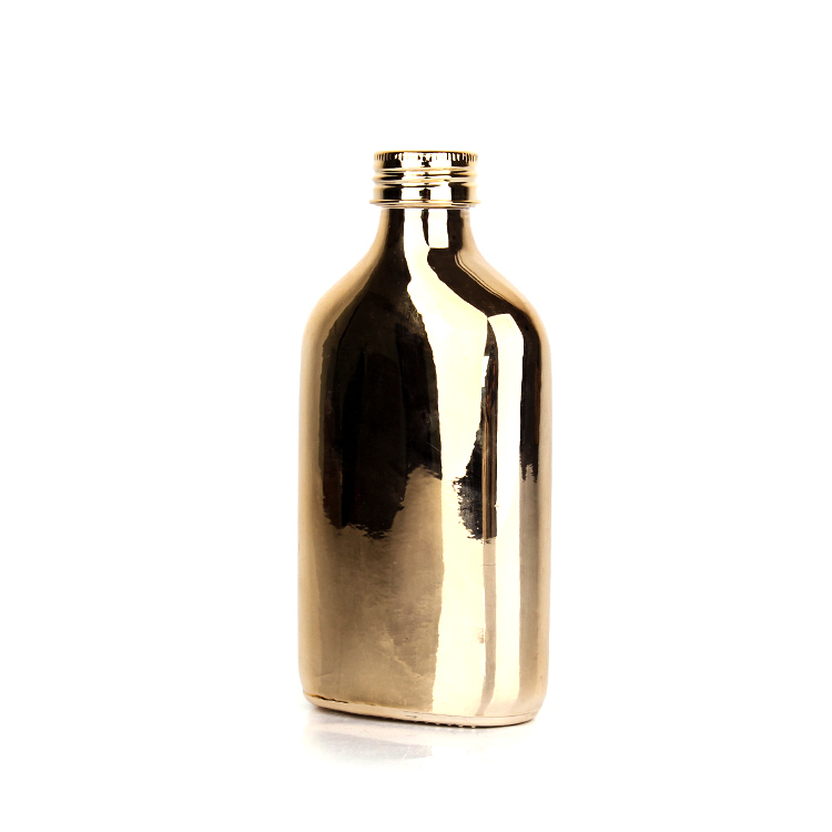 Luxury 200ml Electroplated glass bottle with Aluminum lid for coffee liquor beverage wine