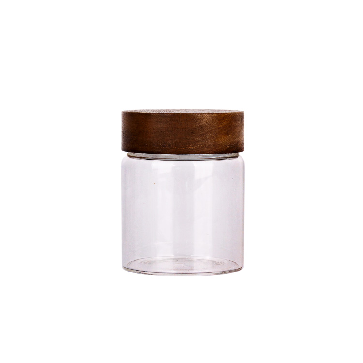 340 ml borosilicate food grade round container glass storage jar with screw wooden lid