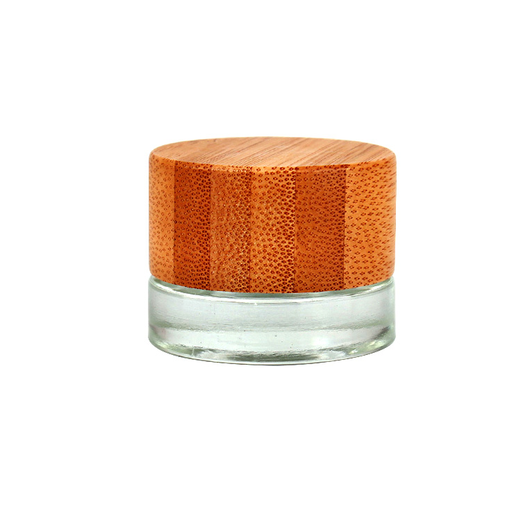 5ml small round glass jar with bamboo wooden cap for eye cream cosmetic
