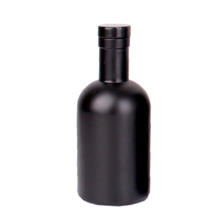 500ml 750ml empty custom matte black wine vodka glass bottle