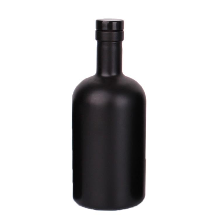 luxury 375ml black vodka whisky liquor glass bottle with rubber stopper