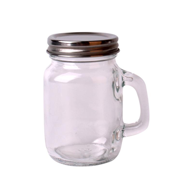 100ml Customised logo round glass mason jar with handle